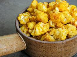 Roasted Turmeric Cauliflower on Squash Mash